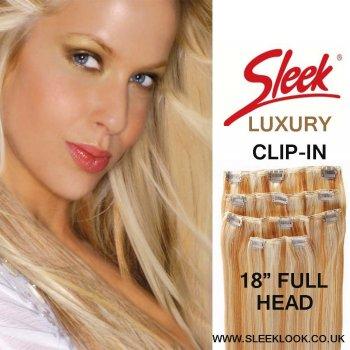 "SLEEK LUXURY CLIP-IN HUMAN HAIR Full Head Clip in 4pcs 18"" Human Hair"